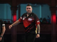 BET VICTOR WORLD MATCHPLAY 2017 WINTER GARDENS, BLACKPOOL ROUND 1 MICHAEL SMITH V STEVE WEST MICHAEL SMITH IN ACTION
